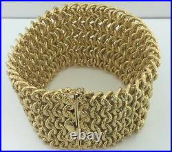 Lady's HEAVY all 18k yellow gold WIDE woven statement bracelet, 100.8 grams