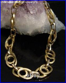 Large 14k Yellow Gold 9mm Wide Oval Loop Modern Link Bracelet 7.5 Inch