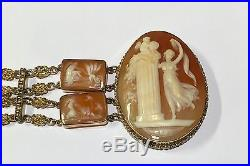 Large Wide Vintage 7 Days Of The Week 14k Yellow Gold Cameo Double Row Bracelet