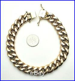 MEN'S SOLID 10K YELLOW GOLD PUFF MIAMI CUBAN LINK BRACELET 9 Inch 1/2 13MM Wide