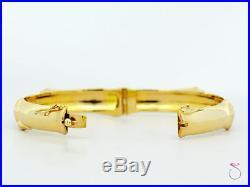 MING'S HAWAII Rare Wide Bamboo Design Hinged Bangle Bracelet 14K Yellow Gold