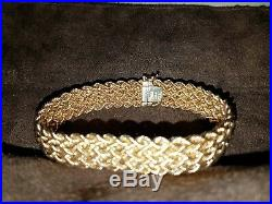 MINT 14K Yellow Gold BBB Peru Wide Cuff Braided Mesh Bracelet 8 Peruvian