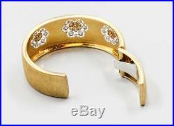 M. BUCCELLATI Diamond 18K Yellow Gold Wide Cuff Bracelet