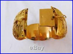 Magnificent 18k Gold Arte Orfebre Open Work Peruvian Wide Heavy Cuff Bracelet