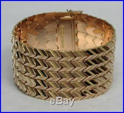 Magnificent Retro Era 18k Solid Gold 1 3/8 Wide 73.6 Gram Bracelet