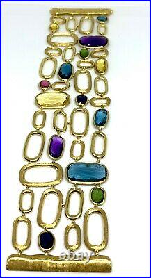 Marco Bicego Murano Mixed Semiprecious 18K Gold Wide Bracelet- Retail $14,520