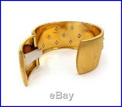 Mario Buccellati 18K Yellow White Gold 2.25ct Diamond Wide Cuff Bracelet