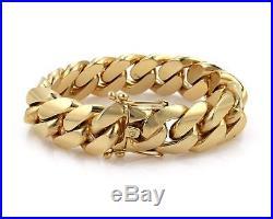 Massive 14k Yellow Gold 22mm Wide Cuban Curb Link Chain Bracelet 335.2gr