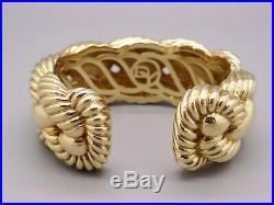 Massive David Yurman 18k Yellow Gold 27mm Wide Woven Cable Bangle Cuff Bracelet