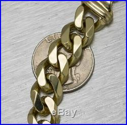 Men's 14K Yellow Gold 12mm Wide Cuban Curb Link Chain 8.50 Bracelet 67.6gr