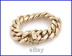 Men's 14k YGold Massive 21mm Wide Large Curb Link Bracelet 9 Long 290 Gram
