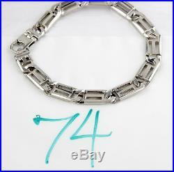 Men's 8.00 mm Wide 14k SOLID White Gold Bracelet 8.5 in Long