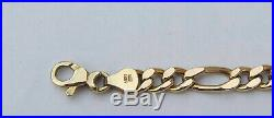 Men's 8 Figaro Chain Bracelet with Lobster Clasp 10K Yellow Gold 5mm Wide