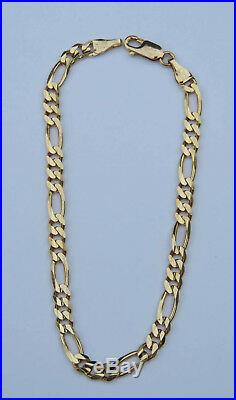 Men's Figaro Chain Bracelet 10K Yellow Gold Claw Clasp 4mm Wide 8 Long