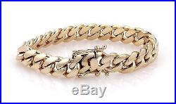 Men's Large 14k Yellow Gold 12mm Wide Curb Link Chain Bracelet 94.4 Grams
