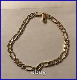 Mens 10K Gold Figaro Bracelet 8.5 Length 5 Mm Wide 6.2 Grams NOT SCRAP
