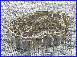 Mens 10K Yellow & White Gold 3.5CT TDW Diamond Wide Bracelet 8.5