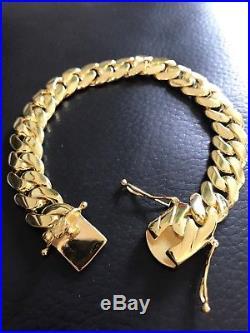 1af19f850ce70 Mens Cuban Miami Link Bracelet 14k Gold Over Solid 925 Sterling ...