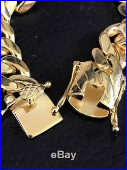Mens Cuban Miami Link Bracelet 14k Gold Over Solid 925 Sterling Silver 12mm Wide