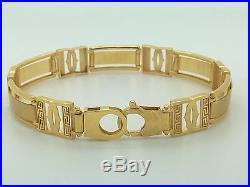 Mens Solid 21k Yellow Gold Long Wide Polished Fancy Greek Key Bracelet 8.50 Inch
