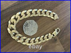 Mens Solid 9ct yellow Gold Flat Curb Chain Link Bracelet 8.5 in 31.6g 12mm wide