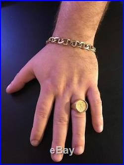 Mens solid gold mariner bracelet 14k 40.6 GR 8 3/4 long 3/8 wide. No Reserve
