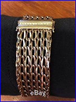 Mesh Flex Bangle Bracelet, 14k Gold with Diamond, 25mm Wide