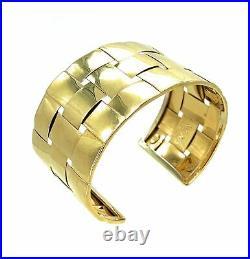 Mid Century Modern Basket Weave 18K Yellow Gold Wide Cuff Bracelet