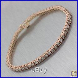Modern Estate Solid 14k Rose Gold 5.45ctw Diamond 2mm Wide Tennis Bracelet M8