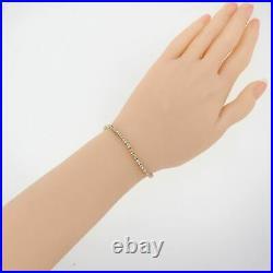 Modern Estate Solid 14k Yellow Gold 1.87ctw Diamond 2mm Wide Tennis Bracelet C8