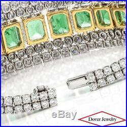 Modern Natural Diamond 44.72ct Colombian Green Emerald 18K Gold Wide Bracelet