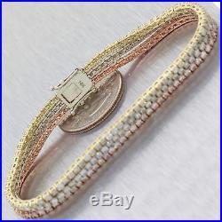 Modern Solid 14k Multi Gold 7.47ctw Diamond 6mm Wide 3 Row Tennis Bracelet C8