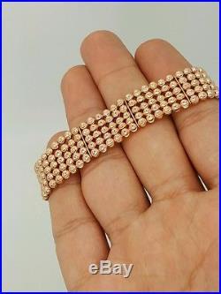 NEW 14K 585 ROSE GOLD FIVE ROW BALL DESIGNER ADJUSTABLE WIDE BRACELET 7-8 Inches