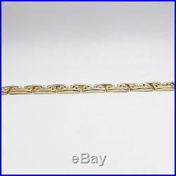 NEW 14k Gold Italy 1/2 Wide Greek Key Stampato Link Bracelet 7. 21.4gr