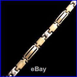 NEW 14k Real Yellow Gold 8 Men's Modern Designer Style Bracelet 6mm Wide RARE