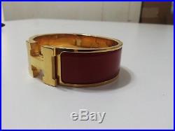 NEW Hermès Clic Clac H Bracelet, Wide Red (Rouge Corail), Rose Gold H/W, PM