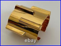 NWT Saint Laurent YSL Deco Clous de Paris Gold Statement Wide Cuff Bracelet $895