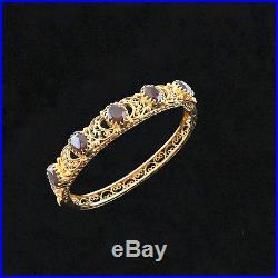 NYJEWEL 14k Solid Gold Fabulous Filigree Garnet 11mm wide Bangle Bracelet 6.5