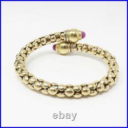 NYJEWEL 14k Yellow Gold Italy Designer Ruby 7.5mm Wide Heavy Cuff Bracelet