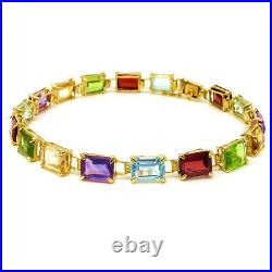 NYJEWEL 14k Yellow Gold Multi Color Gemstone 6mm Wide Bracelet 7 Inches 7.7g