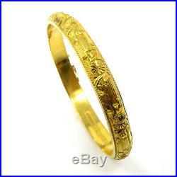 NYJEWEL 24k Gold Investment Craved 7mm wide China Bangle Bracelet