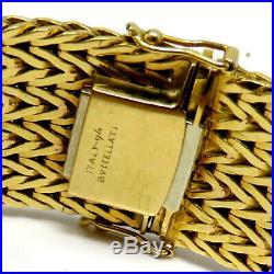 NYJEWEL Buccellati 18k Yellow Gold Italy Herringbone 20mm Wide Heavy Bracelet