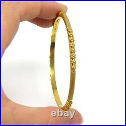 NYJEWEL New 22K Yellow Gold Indian 4mm Wide Bangle Bracelet