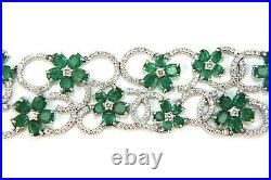 Natural Flower Emerald & Diamond Cluster Wide Bracelet 14K White Gold 32.56Ct