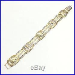 New 10k Yellow Gold 21 MM Wide Jesus Praying Hands Hip Hop Style Bracelet
