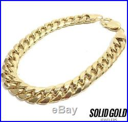 New 10k Yellow Gold 9 9 MM Wide Semi Hollow Plain Cuban Miami Link Bracelet