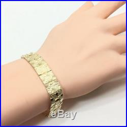 New 10k Yellow Gold Solid 14 MM Wide 8.5 Nugget Style Bracelet Mens Ladies 7303