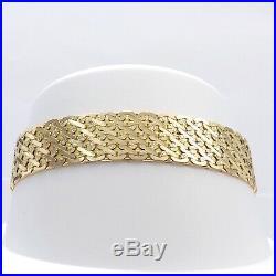 New 14k Gold Italy 1/2 Wide Diamond Cut Flat Mesh Bismark Link Bracelet 20gr