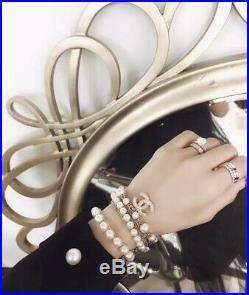 New 2019 Authentic CHANEL Classic CC Gold Multi-Strand Pearl Chain Wide Bracelet