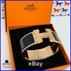 New Hermes Black Rose Gold Hardware CLIC Clac H Wide Enamel Bracelet Pm $720
